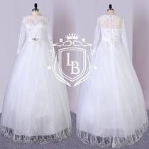 Vestido Noiva Princesa Manga Longa Renda Pronta Entrega
