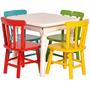 Jogo De Mesa Infantil Com 4 Cadeiras Coloridas Disa Móveis
