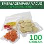 Embalagem Para Vácuo 20 X 25 Cm 12 Micras, 100 Embalagens