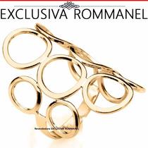 Rommanel Anel Circulos Vazados Folhead Ouro Solitario 511048