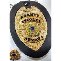 Distintivo Agente Escolta Armada Folheado Couro Brinde Bótom
