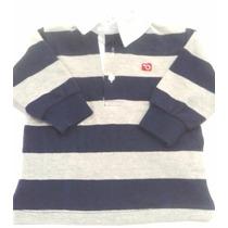 Camisa Polo Bebe Listrada- Cinza E Azul- Very Important