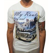 Camiseta Algodão Gola Redonda Masculina Estampada Carro