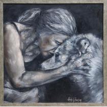 Pintura À Óleo - Monocromática Cachorro Sentimento Moderno