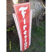 Antiguo Cartel Enlozado Firestone Sano Chico 116 X 30 Cm