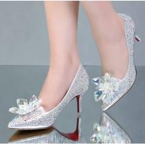 Sapato Cinderela Noiva Debutante Strass Cristal Swarovisk