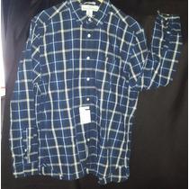 Moderna Camisa Manga H&m Hombre Cuadros L Azul Importada