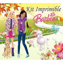 Kit Imprimible Barbie - Invitaciones Tarjetas Cajas Fondos