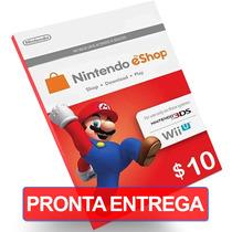 Card $10 Nintendo Cartão Us Dólares Eshop 3ds Wii U