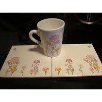 Bandeja Desayuno C/ Azulejos Pintada A Mano + Taza