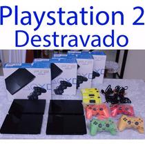 Playstation 2 + 10 Jogos + 2 Controles + Memory Card + Caixa