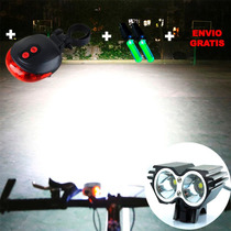 Luz Led Lampara Para Bicicleta + Luz Trasera Gratis Envío