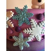 Copos De Nieve,pastillaje Comestible,torta ,cupcakes Frozen