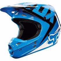 Casco Fox V1 Moto Cross Enduro Mx Azul Blanco En Fas Motos