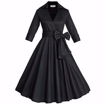 Vestido Vintage Rockabilly Pin Up, Negro