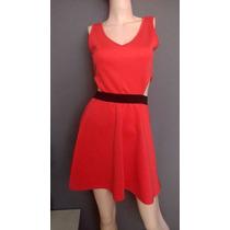 Vestido Color Coral Cintura Abierta Chico