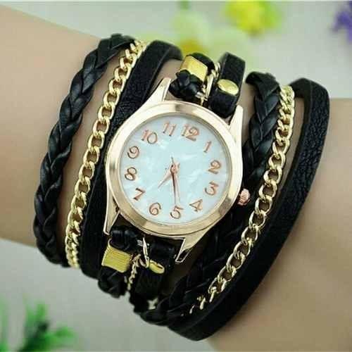 2c73bc0804a Relógio Feminino Bracelete Strass Pulseira De Couro Lindo - R  55