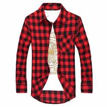 Camisa Social Masculina Manga Comprida Xadrez Luxo 2016