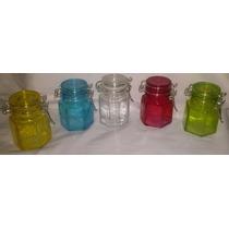Frascos De Vidrio De Colores Hermeticos Lote X 5 Unidades