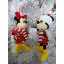 Mickey Mouse Y Mimi Santa Peluche Adorno Navideño Decoración