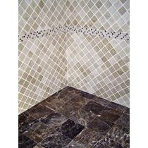 Mosaicos De Mármol Travertino 10x10cm Piso/pared Tomboleado