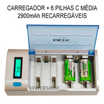Kit Carregador Universal + 6 Pilhas Medias C 2900mah Cb795