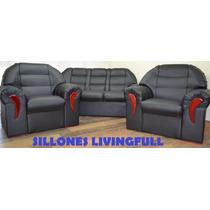 Juego De Sillon Sofa 3 Cuerpos Y 2 Individuales Eco Cuero
