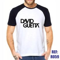 Camisa Raglan David Guetta Eletronic Music Estilo Swag
