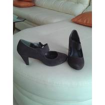 Zapatos Dama Tacon Corto Flamenco Gamusa Marron Talla 39