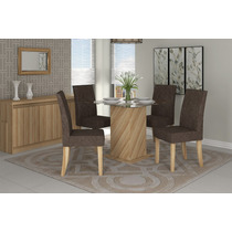 Jogo Sala Jantar Mesa Tampo De Vidro E 4 Cadeiras Dj Móveis
