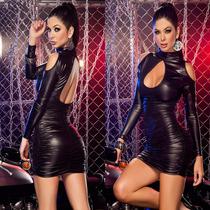 Mini Vestido Corto Sexy Gotico Licra Metalica Goth Fiesta