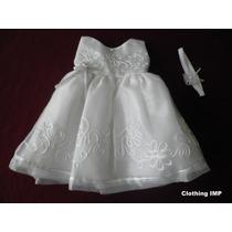 Nuevo Ropon Vestido Blanco Bautizo Organza Flores 6-9 Meses