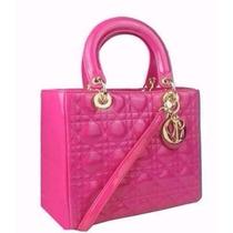 Bolsa Christian Dior Lady Di Original Rosa Em Couro Limitada