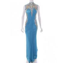 Vestido Azul Turquesa Con Dorado Gaurav Gupta