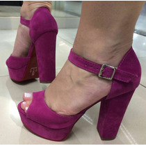 Lançamento Sandalia Salto Grosso Estilo Louboutin Pink