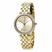 Relógio Michael Kors Mk3365 Dourado Strass Original Garantia