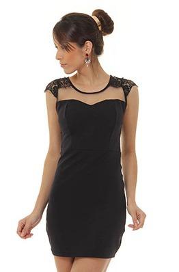 Vestido de renda com tule transparente curto