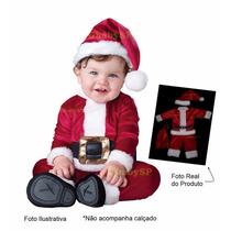 Roupa De Papai Noel Para Bebê Criança Infantil Veludo Luxo
