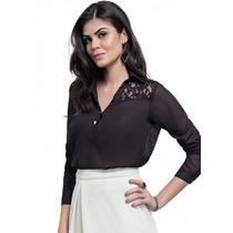 Camisa Preta Detalhe Em Renda Feminina Principessa Dayse