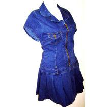 Mini Vestido Tableado Mezclilla Stretch Tallas Extra 40 A 50