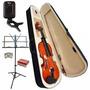 Kit Violino 3/4 Case Partitura Afinador Espaleira E Arco