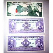 Lote 3 Billetes Bolívares (años