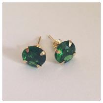 Brinco Pedra Verde Esmeralda 7mm Joia Ouro 18k Frete Grátis