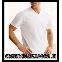 Franela Algodon - Cuello V Unisex Blanco - Negro Unisex
