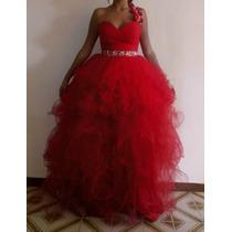 Venta O Alquiler Vestido De 15 Años Color Rojo Desmontable.