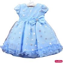 Vestido Elsa Frozen Festa Infantil Luxo 1 Ao 3 Com Tiara