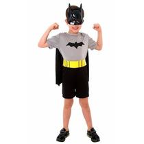 Fantasia Batman Pop Infantil Dc Completa C/ Máscara P