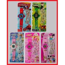 Relógio Projetor De Luz Com Slides Frozen Minnie Ben 10