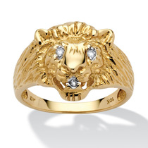 Anillo Cabeza León Oro 10k C/acento Diamante Hombre Talla 12
