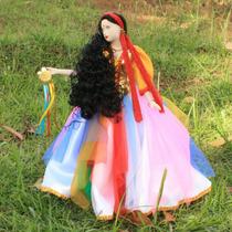 Boneca Cigana Porcelana Tecido Colorido 40cm + Brinde